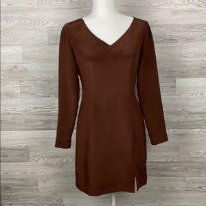 Hugo Buscati 100% Silk Brown Sheath Dress